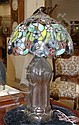 STAINED AND LEADED GLASS TABLE LAMP, the shade,