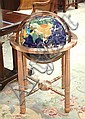 SEMI-PRECIOUS COLOR STONE MOSAIC WORLD GLOBE WITH