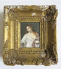 FRAMED HAND PAINTED PORTRAIT MINIATURE copy of a