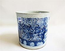 CHINESE BLUE UNDERGLAZE PORCELAIN BRUSH POT, the
