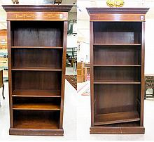 A PAIR OF EDWARDIAN INLAID MAHOGANY BOOKCASES,