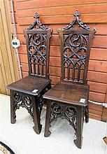 A PAIR OF OAK GOTHIC REVIVAL SIDE CHAIRS, English,