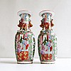 PAIR OF ROSE CANTON VASES having baluster form