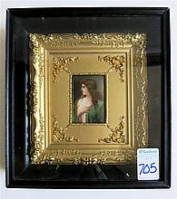 HAND PAINTED MINIATURE PORTRAIT ON PORCELAIN of a