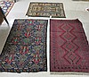 THREE HAND KNOTTED BELOUCHI TRIBAL AREA RUGS:
