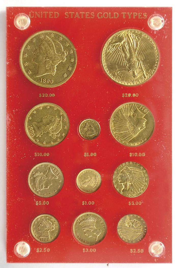 U.S. GOLD COIN SET, 11 coins: 1851 Liberty $1;