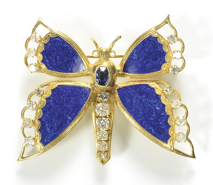 DIAMOND, BLUE SAPPHIRE, BLUE ENAMEL AND 18K GOLD BROOCH