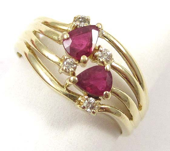 RUBY, DIAMOND AND FOURTEEN KARAT GOLD RING