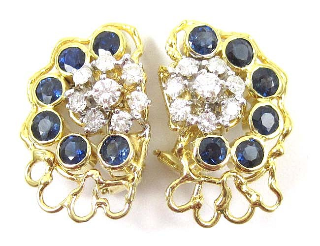 A PAIR OF DIAMOND, BLUE SAPPHIRE AND 14K GOLD EAR CLIPS