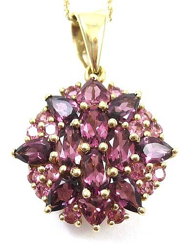 TOURMALINE, RHODOLITE GARNET AND 14K GOLD PENDANT NECKLACE