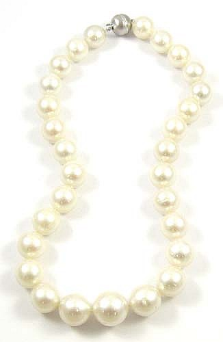 WHITE SOUTH SEA PEARL NECKLACE, featuring 29 large