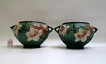 PAIR ROSEVILLE ART POTTERY JARDINIERES, in the