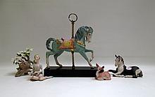FIVE CYBIS PORCELAIN FIGURINES: Carousel Horse,