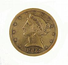 U.S. FIVE DOLLAR GOLD COIN, Liberty head type,