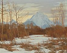 JERRY INMAN OIL ON CANVAS (Montana, born 1946) View of Mount Moran at sunset, Grand Teton National Park, Wyoming. Image measures 16