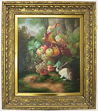 OIL PAINTING ON CANVAS, basket of fruit with rabbit, signed SCHRATER lower right, 24 x 20 inches.