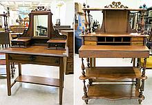 LATE VICTORIAN CARVED MAHOGANY AND OAK DRESSING  TABLE, Scottish, c. 1900, having a rectangular table-like base, the top surmounted by two small drawers with tilt mirror centered above.  Dimensions:  54.25