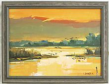 LISITSA OIL ON CANVAS (Russian, 20th/21st century) Impressionist landscape with ducks and wetlands.  Image measures 13.5