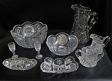 FIFTEEN PIECES CUT CRYSTAL TABLEWARE, set of 8 Waterford liqueurs in the