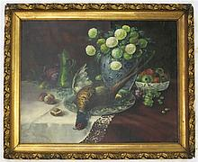 STILL LIFE OIL ON CANVAS BOARD, early 20th century, table-top still life with pheasant, flowers and fruit.  Image measures 28