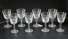 SET OF EIGHT WATERFORD CUT CRYSTAL CLARET WINE GOBLETS,