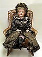 GERMAN BISQUE HEAD DOLL AND ROCKING CHAIR, 2