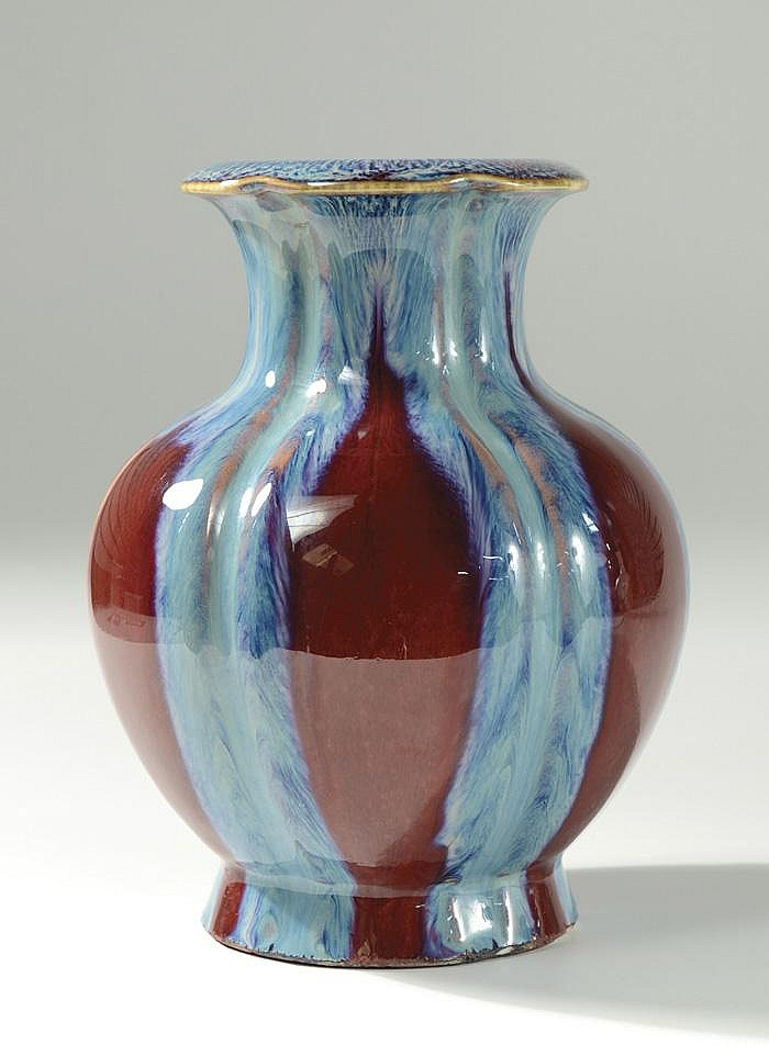 CHINESE FLAMBE GLAZED PORCELAIN VASE, Qing Dynasty
