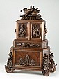 BLACK FOREST CARVED WALNUT JEWELRY CHEST, Swiss,
