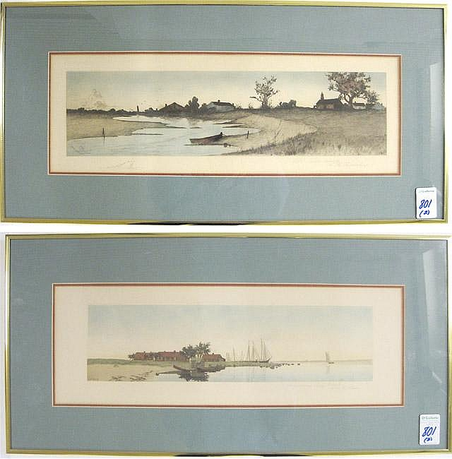 TWO COLORED ETCHINGS by New York artists. Henry M.