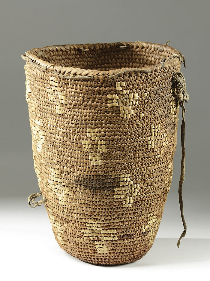 NORTHWEST INDIAN BASKET hand woven of split cedar
