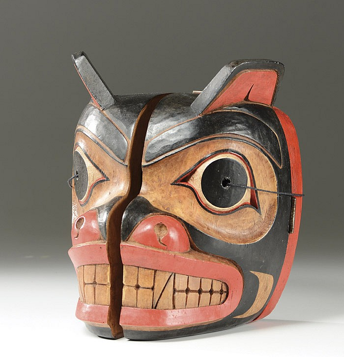 KWAKIUTL INDIAN CARVED BEAR MASK, transformational