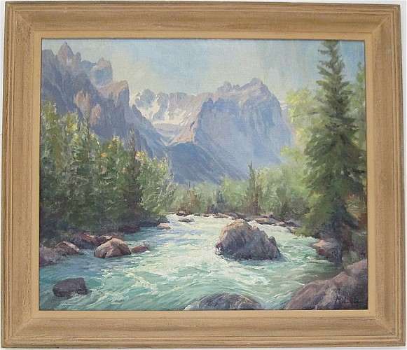 R. LUTZ OIL ON CANVAS (20th century) Alpine river