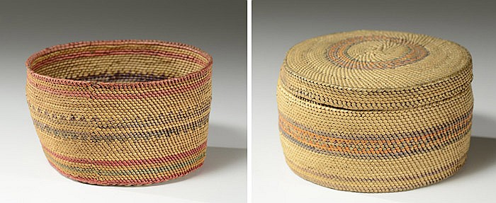 TWO MAKAH INDIAN BASKETS: the first covered, both