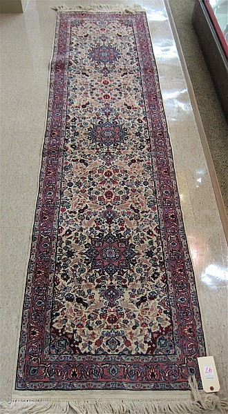 HAND KNOTTED ORIENTAL RUNNER, Sino-Persian, triple