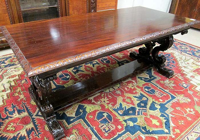 MAHOGANY LIBRARY TABLE, W.K. Cowan Furniture Co.,