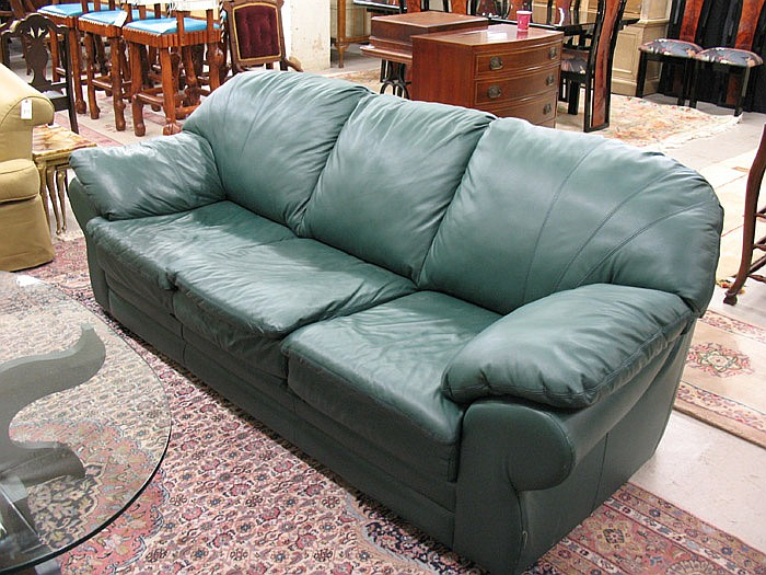 A CONTEMPORARY GREEN LEATHER SOFA, The Prestige