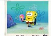 MUSEUM  GRADE SPONGEBOB SQUAREPANTS PRODUCTION CEL AND PRODUCTION BACKGROUND FROM THE FIRST YEAR 1999  FEATURING A  CEL OF SPONGEBOB FROM THE EPISODE JELLYFISH JAM