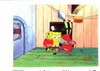ORIGINAL HAND PAINTED SPONGEBOB PRODUCTION CEL OF SPONGEBOB AND KRABS AND PRINT BACKGROUND FROM