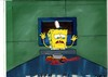 MUSEUM  GRADE SPONGEBOB SQUAREPANTS PRODUCTION CEL AND PRODUCTION BACKGROUND FROM THE FIRST YEAR 1999  FEATURING A  CEL OF SPONGEBOB FROM AN UNKNOWN EPISODE