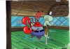 MUSEUM  GRADE SPONGEBOB SQUAREPANTS PRODUCTION CEL AND PRODUCTION BACKGROUND FROM THE FIRST YEAR 1999  FEATURING A  CEL OF KRABS AND SQUIDWARD FROM AN UNKNOWN EPISODE