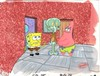 MASTER GRADE SPONGEBOB SQUAREPANTS PRODUCTION CEL AND PRODUCTION BACKGROUND FROM THE FIRST YEAR 1999 FROM THE EPISODE SQUIDWARD THE UNFRIENDLY GHOST