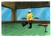 ORIGINAL HAND PAINTED SPONGEBOB PRODUCTION CEL OF SPONGEBOB AND PRINT BACKGROUND FROM