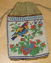 Beadwork purse 19th glass funnel and harlequin set