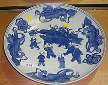 Chinese blue and white dish with children dragon