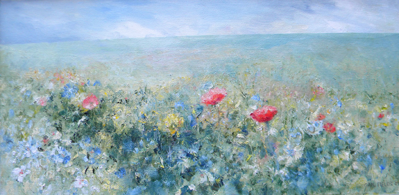 Gail  Fields (contemp), Field of Flowers, oil on canvas, 12 x 24