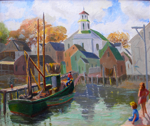 Ada  Rayner  (1901 - 1986 )  Untitled Provincetown Waterfront, oil on board