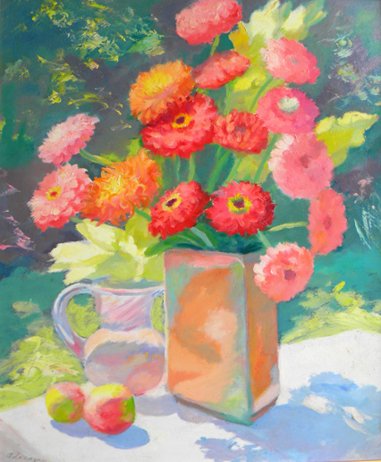 Ada  Rayner  (1901 - 1986 )  Geraniums, oil on board