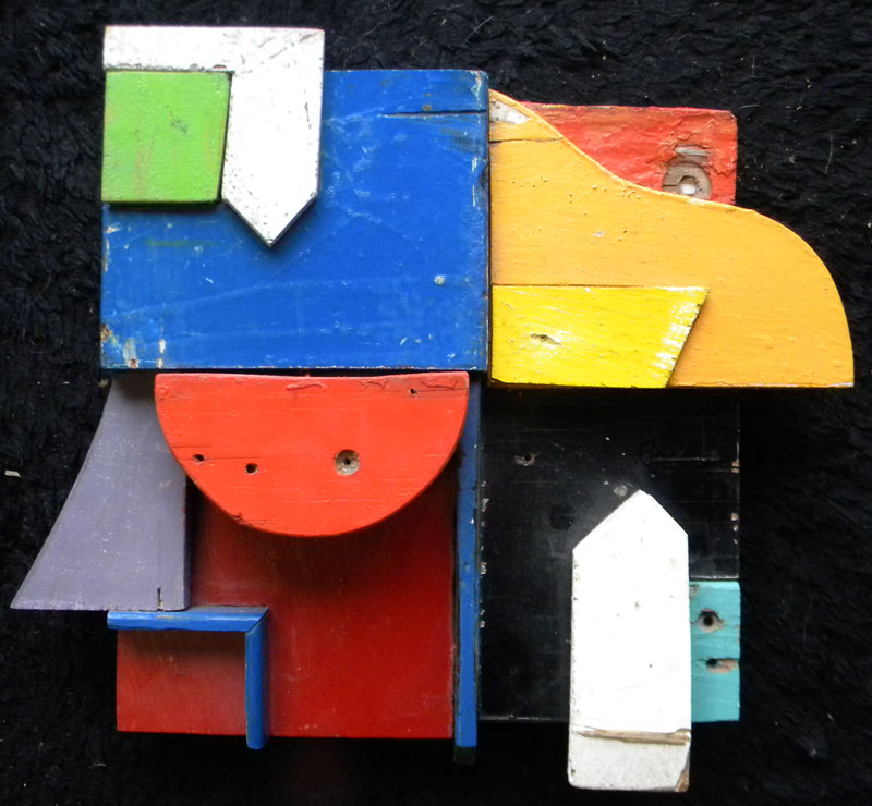 Mike  Wright (contemp), Abstract #2, 2004, found wood assemblage/sculpture, 12 x 12 x 3, signed verso