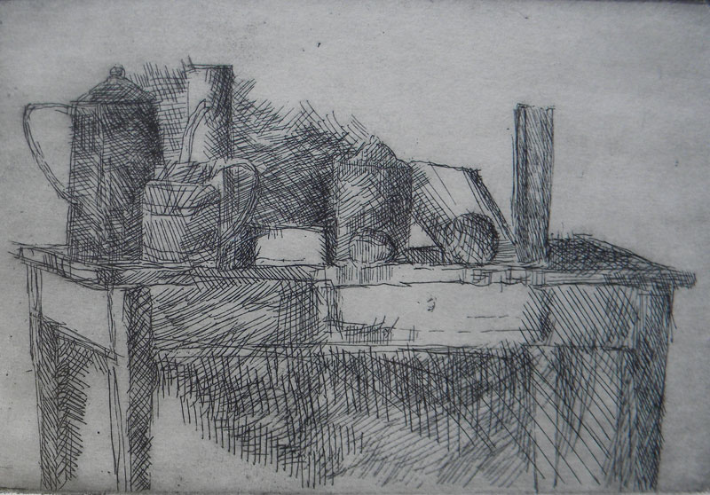 David  Vereano (20th century), Still Life, etching (artist's proof), 6.5 x 9.5, signed lower right in hand