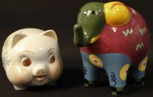 1 Piggy Bank & 1 Elephant Bank